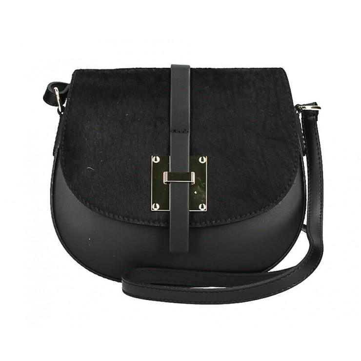 Kožená kabelka s poklopem ze srsti MI209 Made in Italy černá