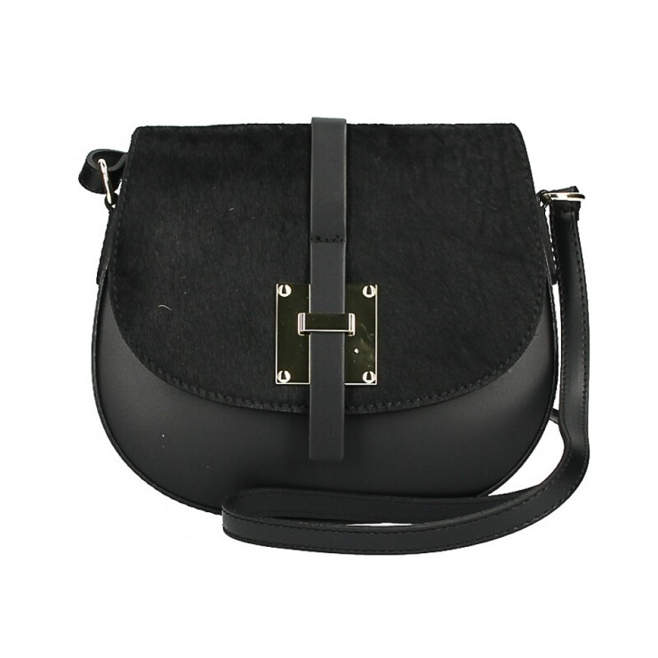 Kožená kabelka s poklopom zo srsti MI209 Made in Italy čierna