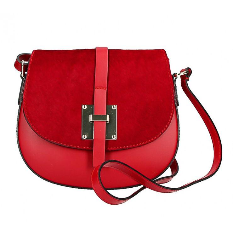 Kožená kabelka s poklopom zo srsti MI209 Made in Italy červená