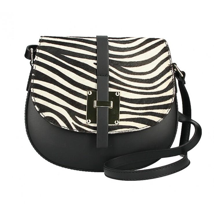 Kožená kabelka s poklopem ze srsti MI209 Made in Italy zebra