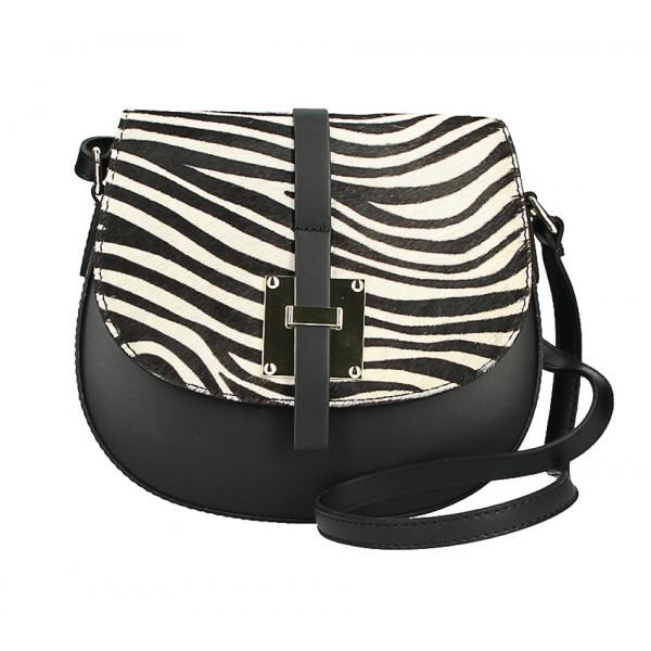 Kožená kabelka s poklopom zo srsti MI209 Made in Italy zebra