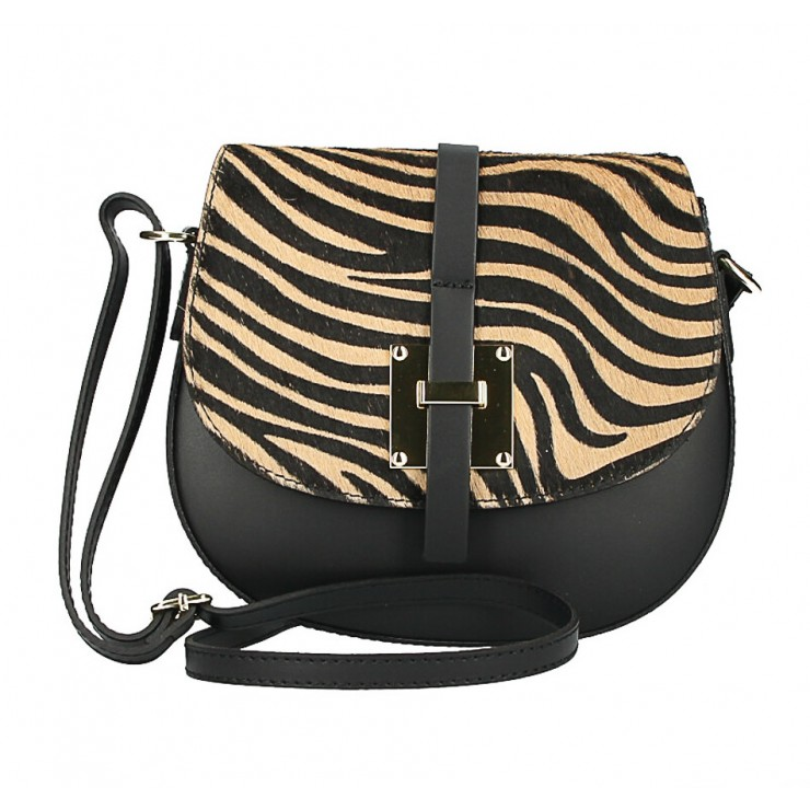 Kožená kabelka s poklopem ze srsti MI209 Made in Italy tmavá zebra