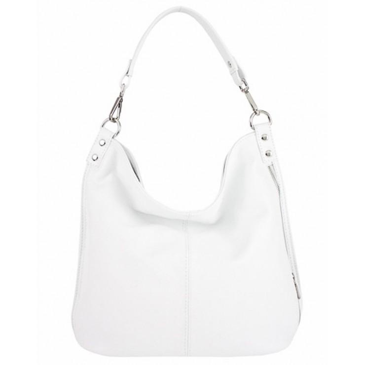 Kožená kabelka na rameno 981 Made in Italy bílá