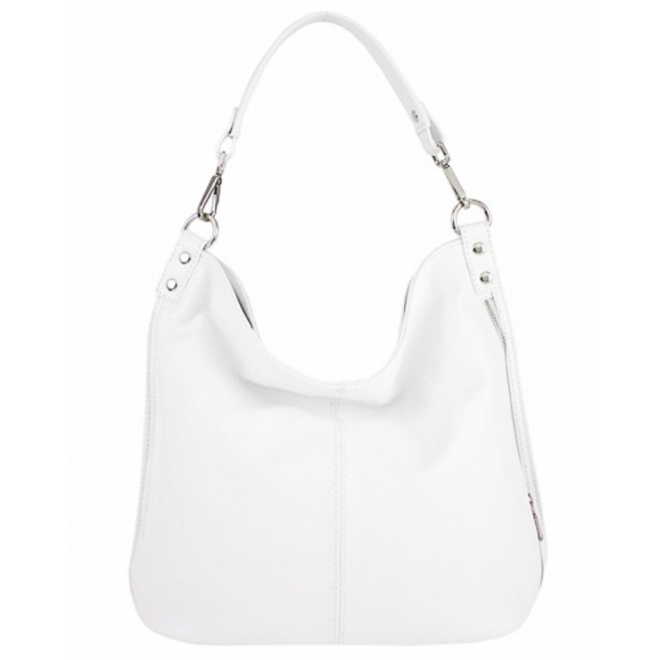 Leather shoulder bag 981 Made in Italy white