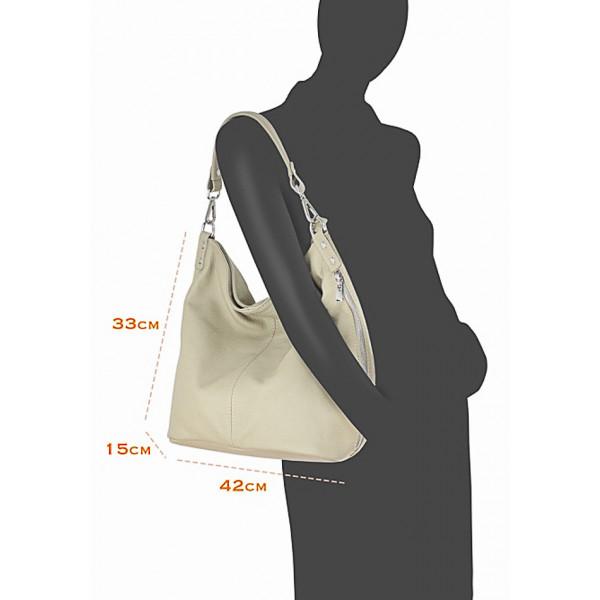 Kožená kabelka na rameno 981 Made in Italy biela