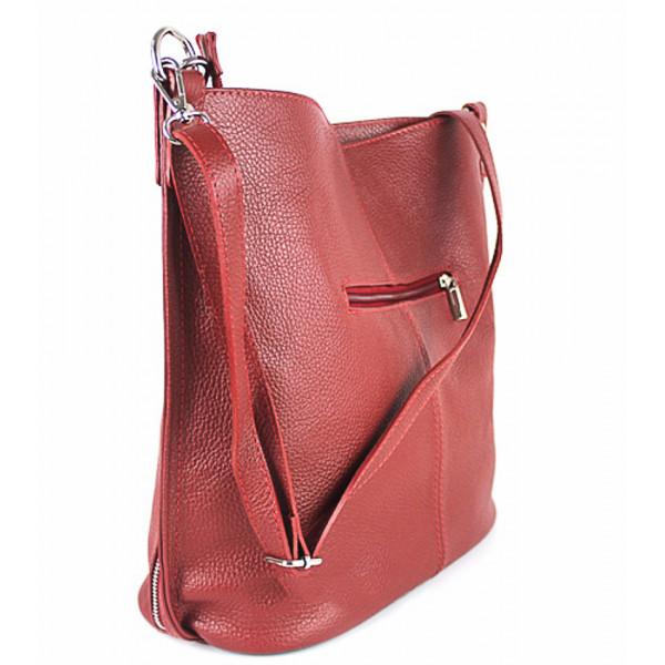 Kožená kabelka na rameno 981 Made in Italy bordová Bordová