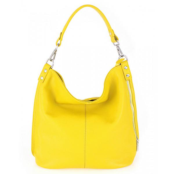 Kožená kabelka na rameno 981 Made in Italy žltá Žltá