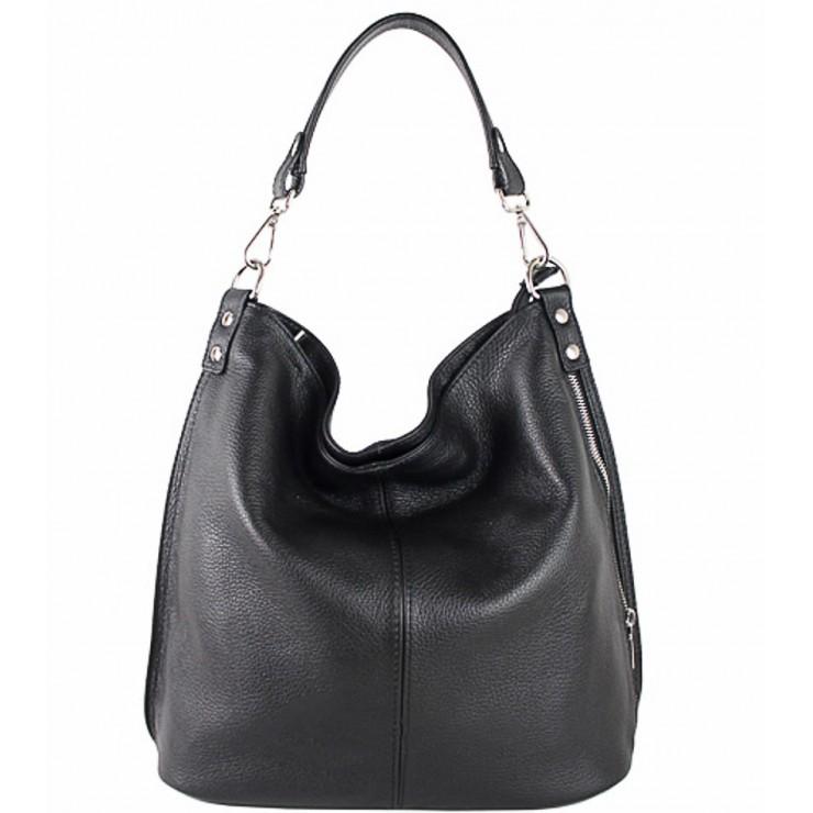 Kožená kabelka na rameno 981 Made in Italy čierna