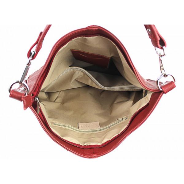 Kožená kabelka na rameno 981 Made in Italy červená Červená