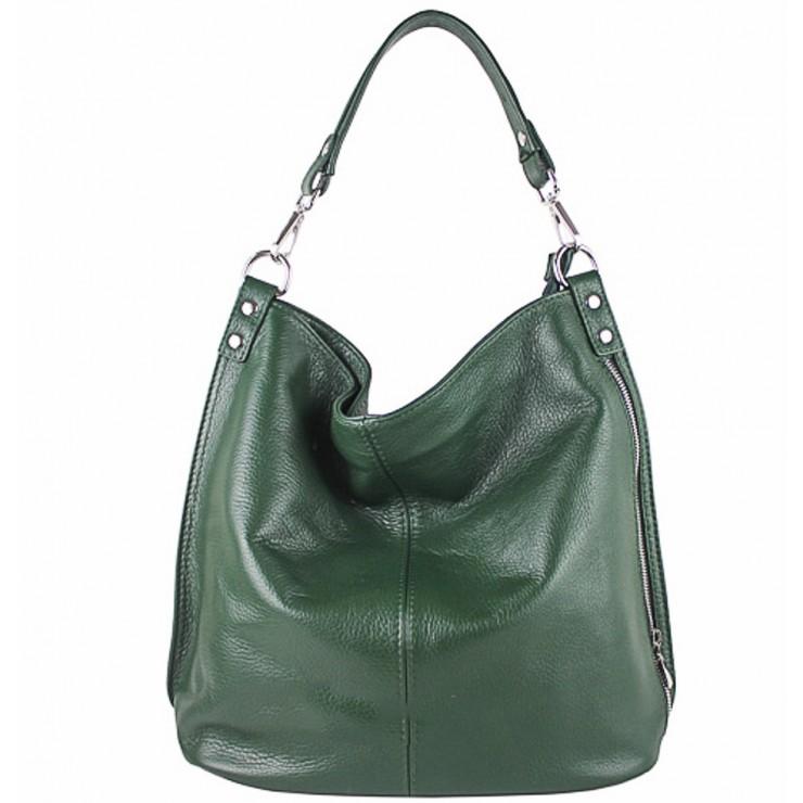 Kožená kabelka na rameno 981 Made in Italy zelená