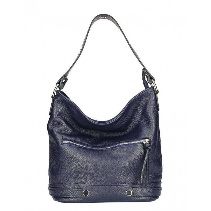 Leather shoulder bag 220 Made in Italy dark blue