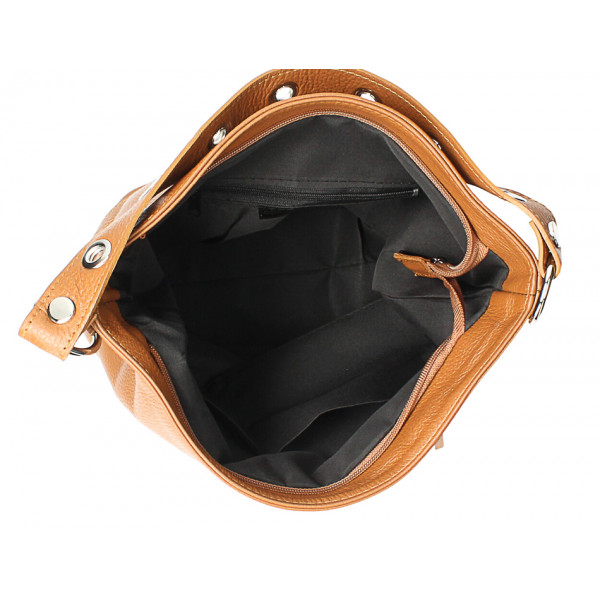 Kožená kabelka na rameno 220 Made in Italy koňaková