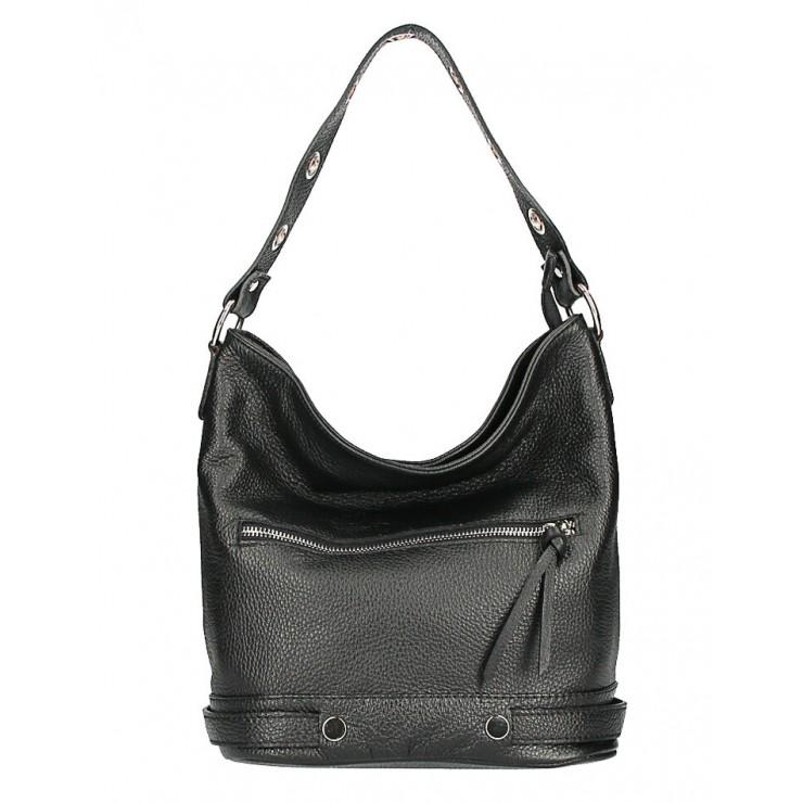 Kožená kabelka na rameno 220 Made in Italy čierna