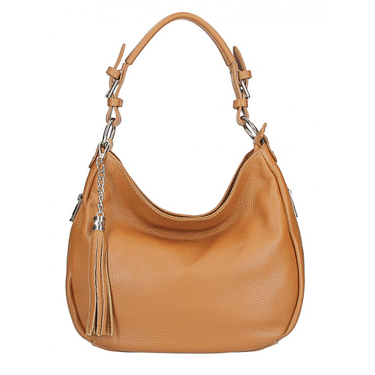 Leather shoulder bag 210 Made in Italy cognac