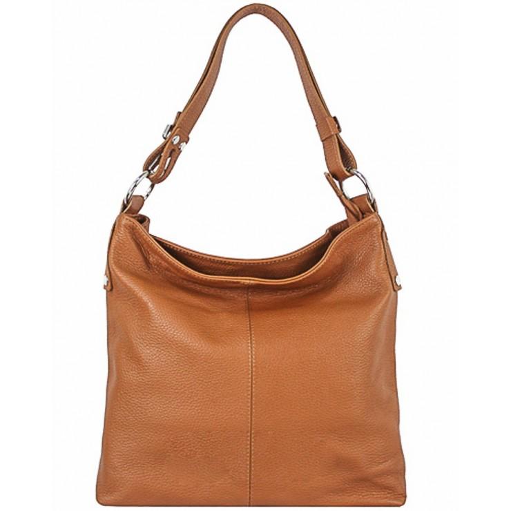 Leather Handbag 762 cognac Made in Italy