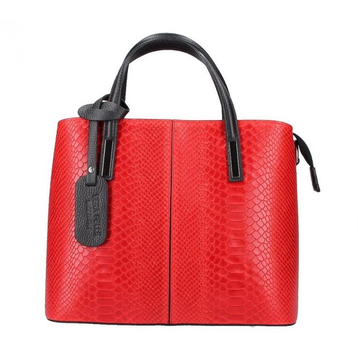 Červená kožená kabelka 960 Made in Italy