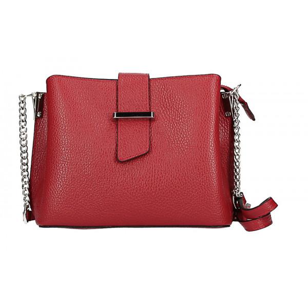 Kožená kabelka na rameno MI211 červená Made in Italy