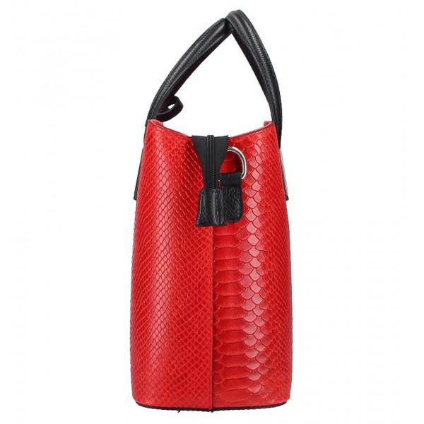 Červená kožená kabelka 960 Made in Italy Červená