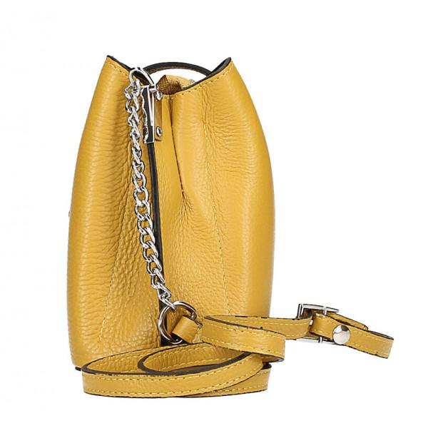 Kožená kabelka na rameno MI211 tmavohnedá Made in Italy