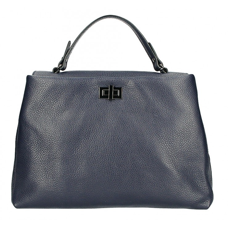 Genuine Leather Handbag MI226 dark blue Made in Italy