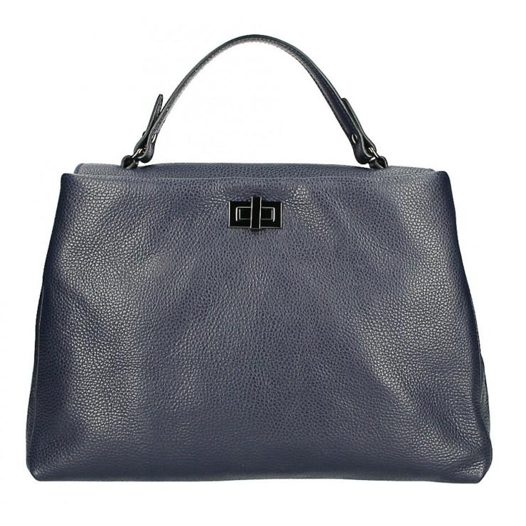 Kožená kabelka do ruky MI226 tmavě modrá Made in Italy