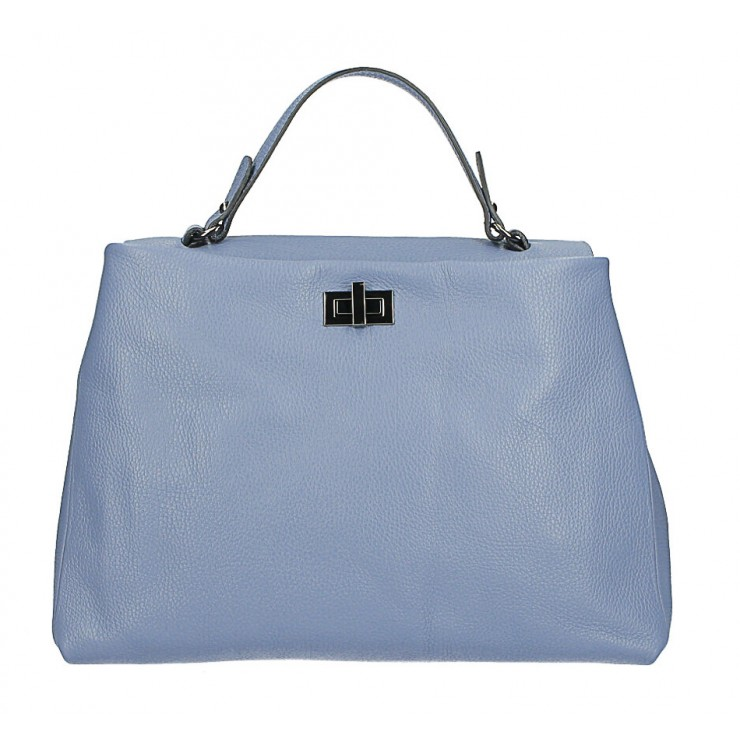 Genuine Leather Handbag MI226 light blue Made in Italy