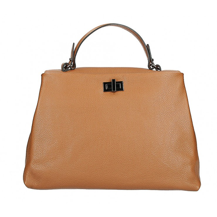 Genuine Leather Handbag MI226 cognac Made in Italy