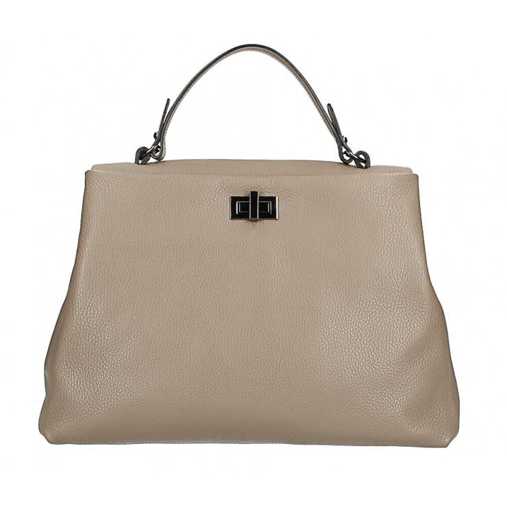 Genuine Leather Handbag MI226 dark taupe Made in Italy