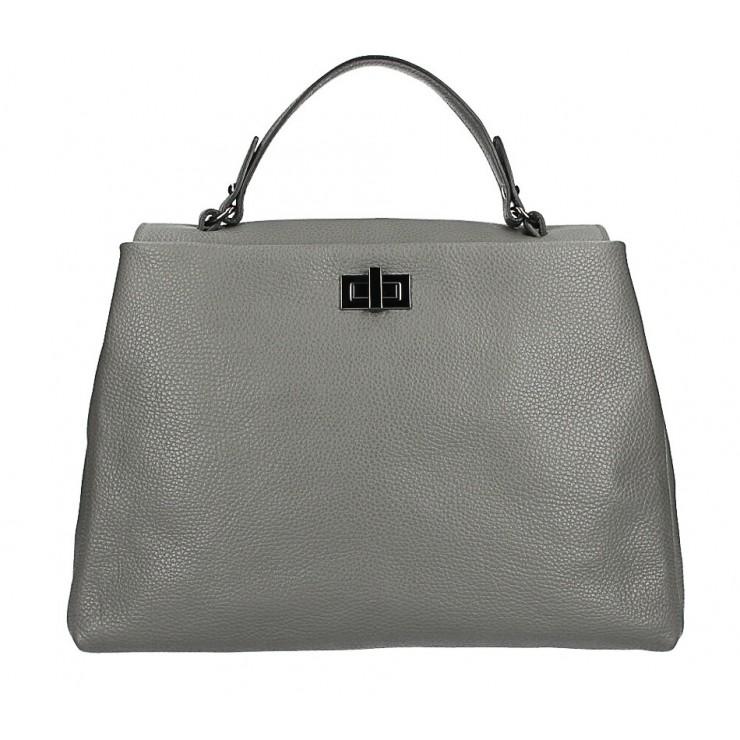 Genuine Leather Handbag MI226 dark gray Made in Italy