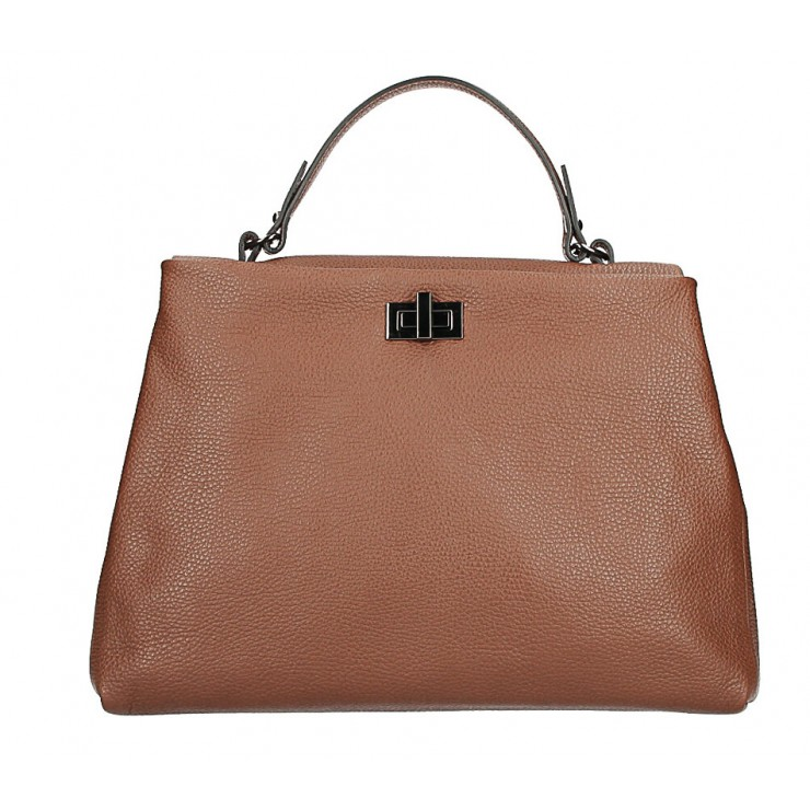 Genuine Leather Handbag MI226 brown Made in Italy