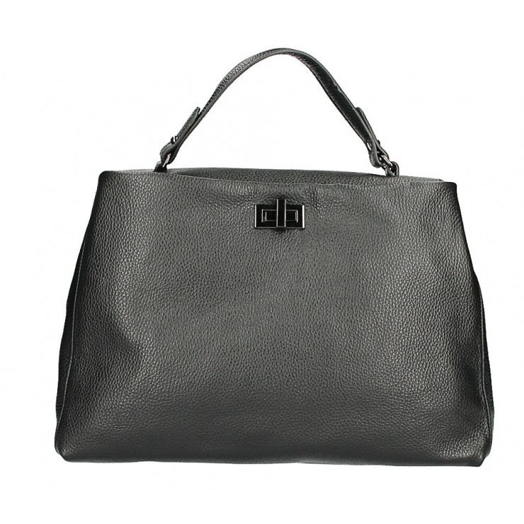 Genuine Leather Handbag MI226 black Made in Italy