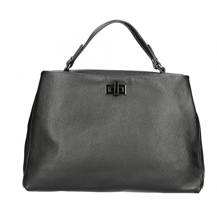 Kožená kabelka do ruky MI226 čierna Made in Italy