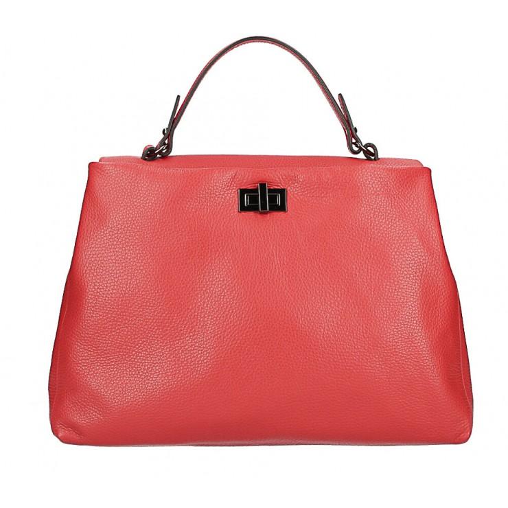 Kožená kabelka do ruky MI226 červená Made in Italy