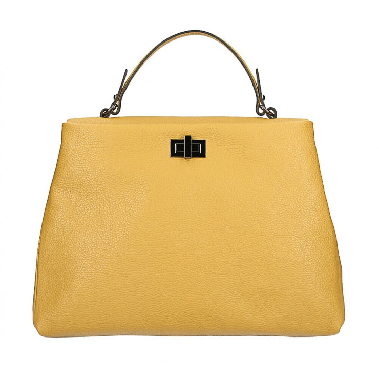 Genuine Leather Handbag MI226 mustard Made in Italy