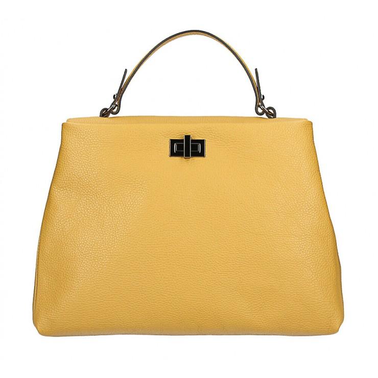 Genuine Leather Handbag MI226 mustard Made in Italy