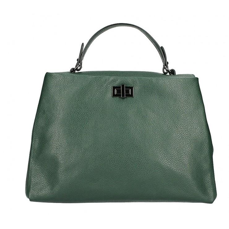 Kožená kabelka do ruky MI226 tmavě zelená Made in Italy