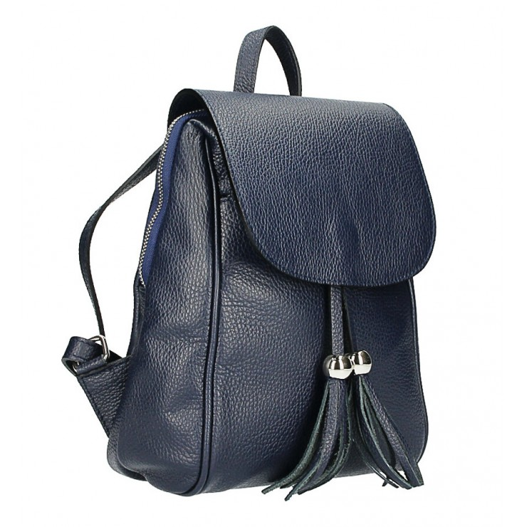 Leather backpack MI228 blue Made in Italy