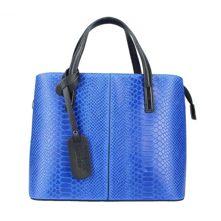 Azurovo modrá kožená kabelka 960