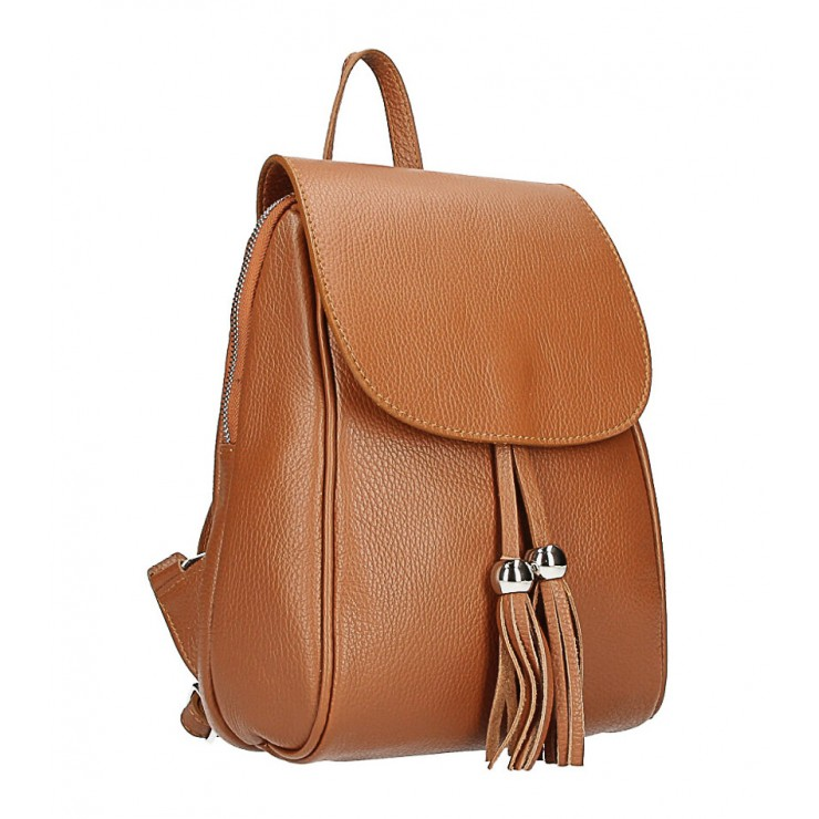Leather backpack MI228 cognac Made in Italy