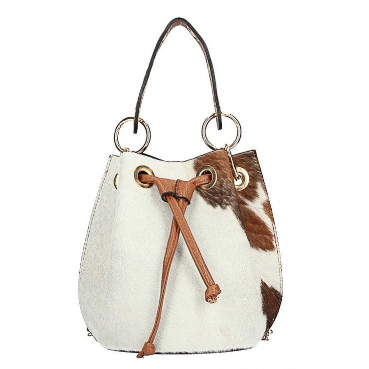 Bucket bag in genuine leather MI214 beige Made in Italy