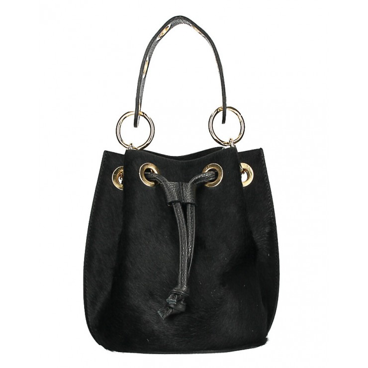 Bucket bag in genuine leather MI214 black Made in Italy