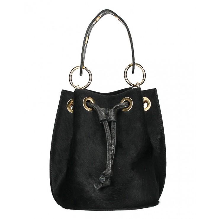 Kožená kabelka MI214 čierna Made in Italy