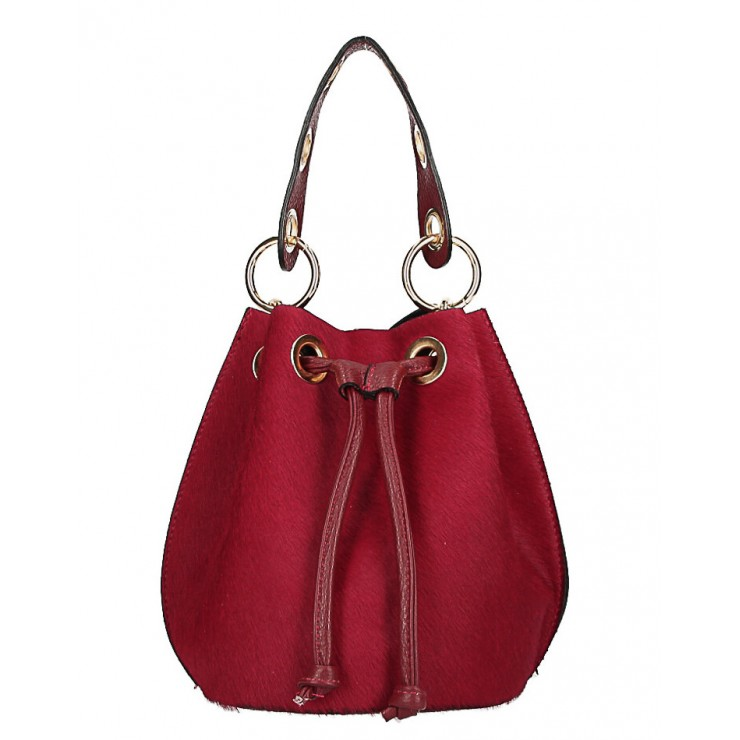 Bucket bag in genuine leather MI214 dark red Made in Italy