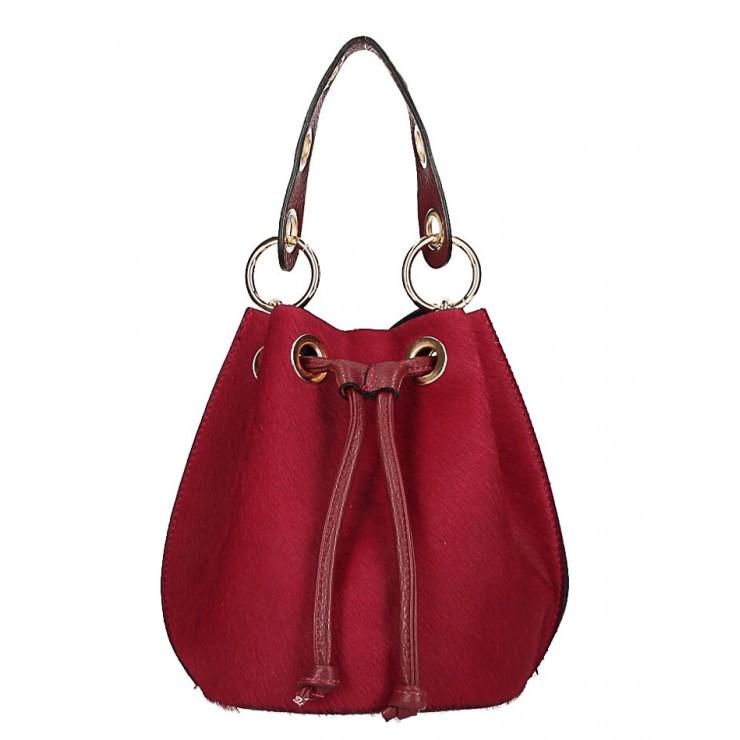 Kožená kabelka MI214 tmavočervená Made in Italy