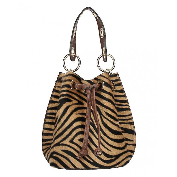 Bucket bag in genuine leather MI214 dark zebra Made in Italy