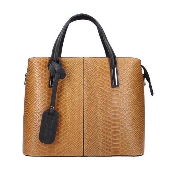 Koňaková kožená kabelka 960 Made in Italy Koňak