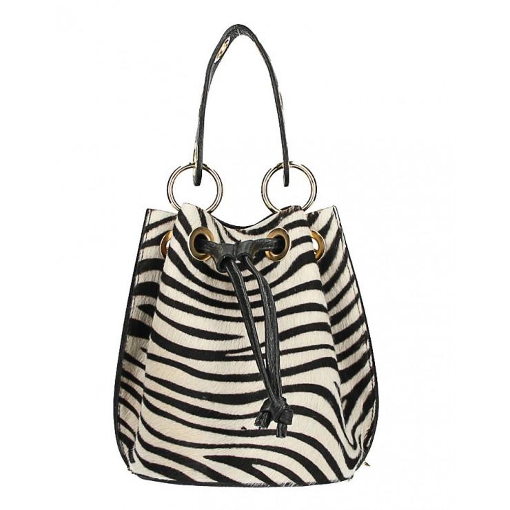 Bucket bag in genuine leather MI214 zebra Made in Italy
