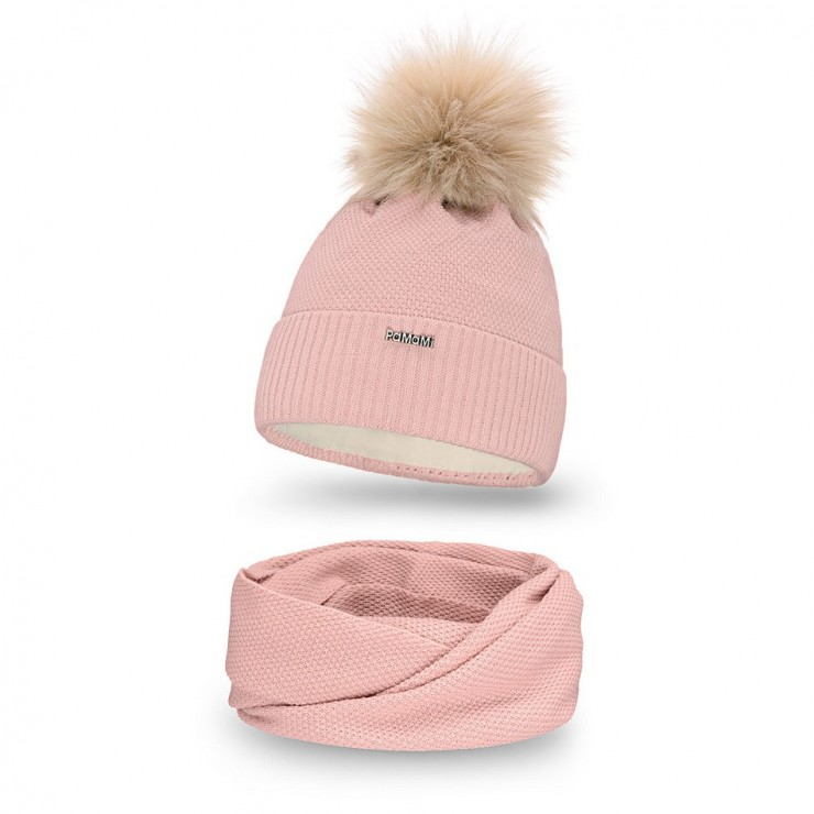 Women's Winter Set hat and scarf  MI142 pink