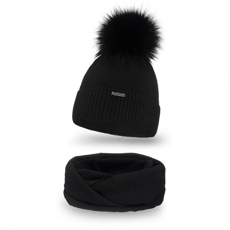 Women's Winter Set hat and scarf  MI142 black