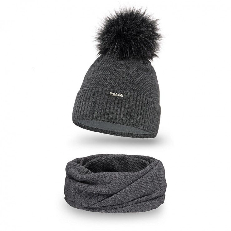 Women's Winter Set hat and scarf  MI142 dark gray